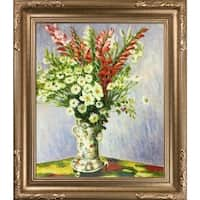 Claude Monet 'Bouquet of Gadiolas, Lilies and Dasies' Hand Painted Framed Canvas Art