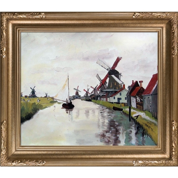 Shop Claude Monet \'Windmills in Holland\' Hand Painted Framed Canvas ...