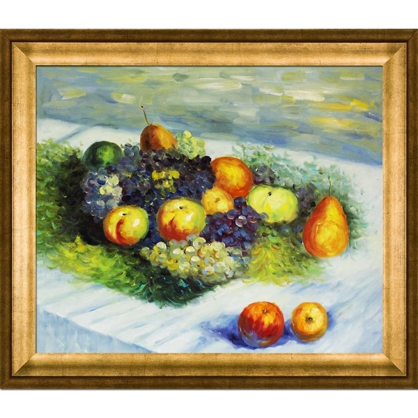 Claude Monet 'Pears and Grapes' Hand Painted Framed Canvas Art
