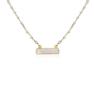 14k Yellow Gold Over Sterling Silver 20ct Moonstone Bar Necklace - 18 Inches