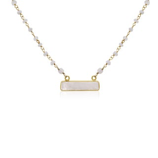 Yellow Gold Over Sterling Silver 20 TGW Moonstone Bar Necklace, 18 Inches