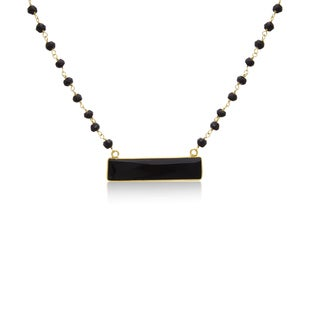 14k Yellow Gold Over Sterling Silver 36ct Black Onyx Bar Necklace - 18 Inches