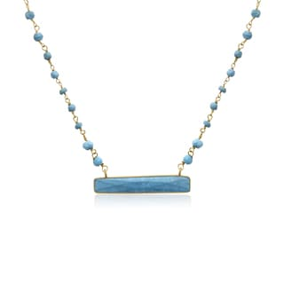 14k Yellow Gold Over Sterling Silver 25ct Turquoise Bar Necklace - 18 Inches