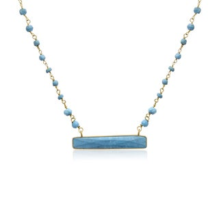 Yellow Gold Over Sterling Silver 25 TGW Turquoise Bar Necklace, 18 Inches - Sea Green