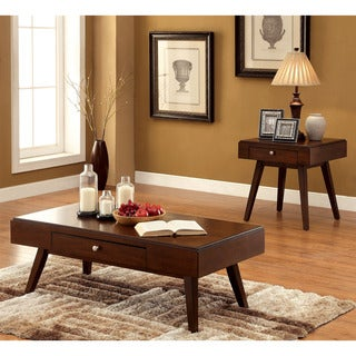 Furniture of America Baine Mid-century 2-piece Brown Cherry Accent Table Set
