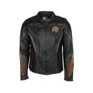 Harley-Davidson 98019-12VW Womens Juneau Winged B&S Black Leather Jacket