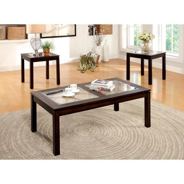 furniture of america dorla dark oak 3 piece accent table
