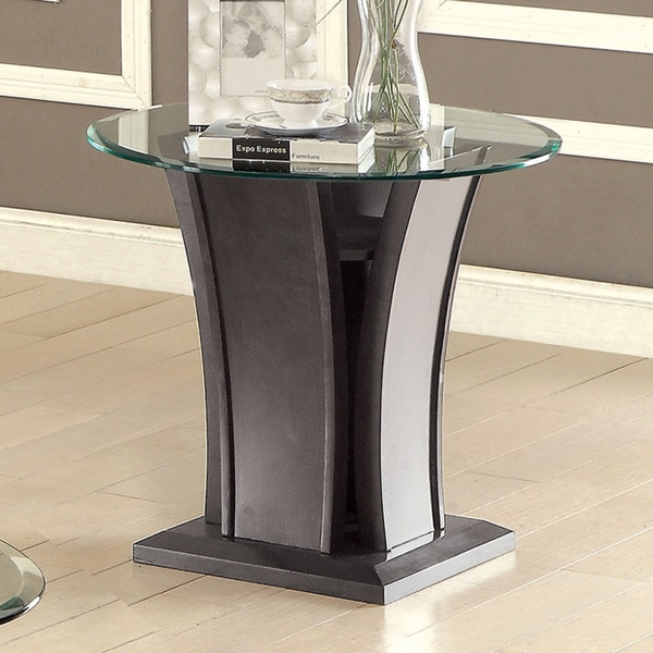Furniture Of America Adrian Grey Beveled Glass Top End