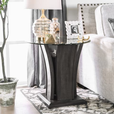 Furniture of America Pecs Contemporary Grey Solid Wood End Table