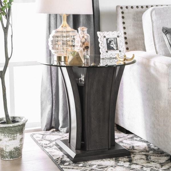 Furniture of America Pecs Contemporary Grey Solid Wood End Table. Opens flyout.