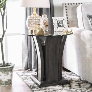 Furniture of America Adrian Grey Beveled Glass Top End Table