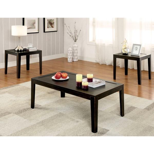 Furniture Of America Carten Distressed Espresso 3 Piece Accent Table Set