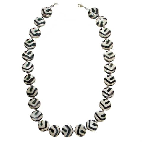 Handmade Zebra Pattern Necklace with Ceramic Beads (Kenya)