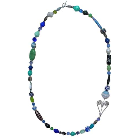 Handmade Multi-bead and Small Wire Heart 30-inch Necklace (Kenya)