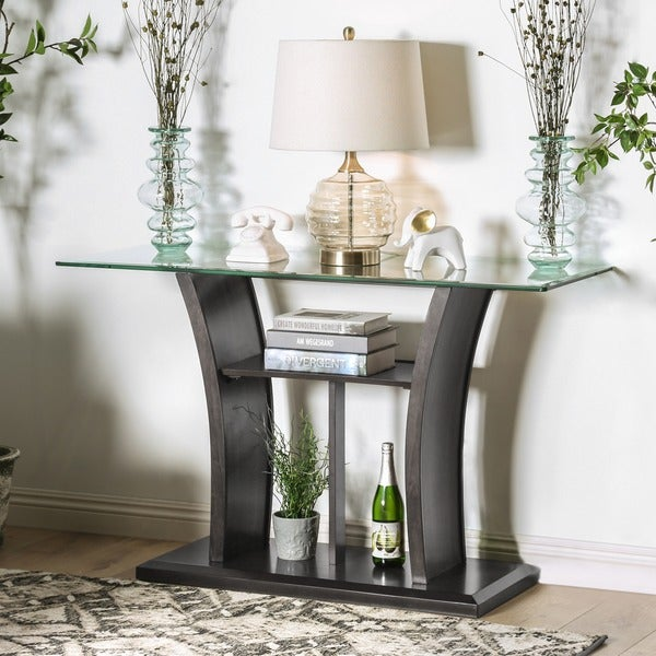 Sofa Tables On Sale: Shop Furniture Of America Adrian Grey Beveled Glass Top