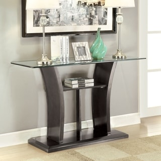 Furniture of America Adrian Grey Beveled Glass Top Sofa Table