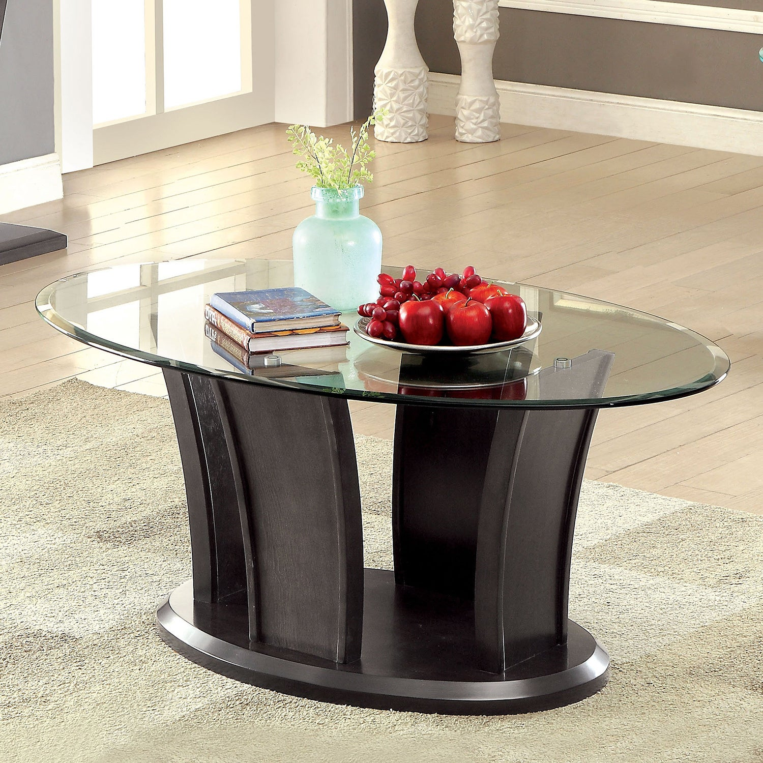 Glass Top Oval Coffee Table 9