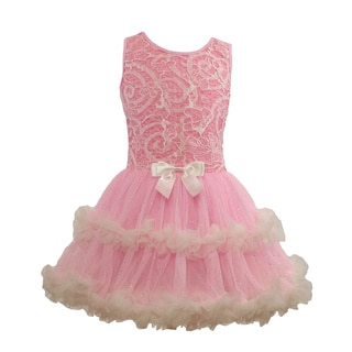 Popatu Pink Lace Ruffle Petti Dress