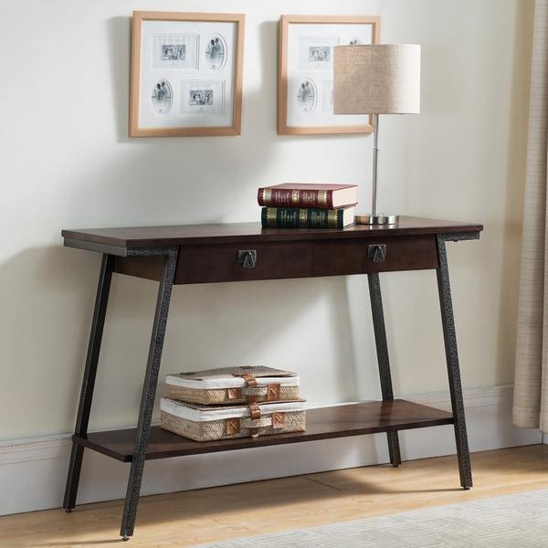 Contemporary Walnut Finish Brown Side Table With Bronzed Steel Legs Two Extendable Drawers And Lower Storage