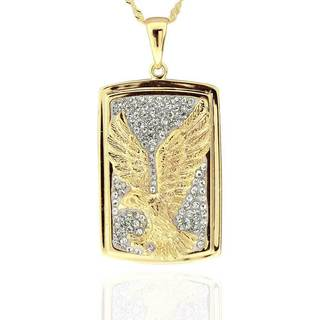 Sterling Silver 14Kt Gold-Plated Crystal Eagle Pendant Necklace with 18-inch Chain (China)