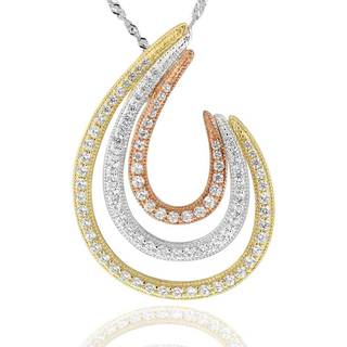 Sterling Silver14Kt Tri-Tone Cubic Zirconia Spiral Pendant Necklace with 18-inch Chain (China)