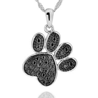 Sterling Silver Diamond Accent Black-Plated Paw Print Necklace with 18-inch Chain