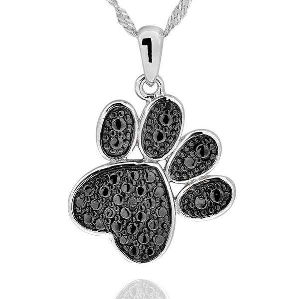 Sterling Silver Diamond Accent Black-Plated Paw Print Necklace with 18-inch Chain (China)