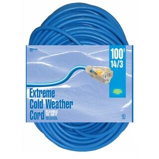 Woods 02629 100' 14/3 Gauge Blue Outdoor Extension Cord