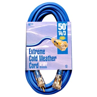 Woods 02628 50' 14/3 Gauge Blue Outdoor Extension Cord