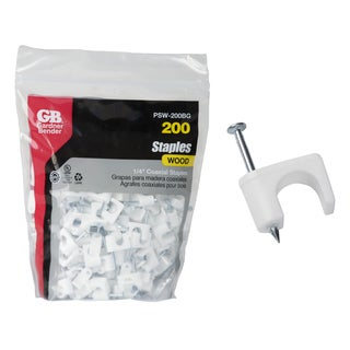 "GB Gardner Bender PSW-200BG 1/4"" White Coaxial Staples 200-count"