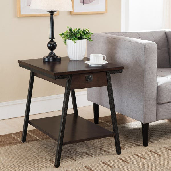 Contemporary end table with drawer and lower storage shelf in brown walnut finish and bronze - Contemporary side tables with storage ...