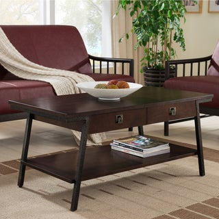 Brown Walnut Finish Two Drawer Coffee Table with Lower Shelf and Textured Bronze Legs