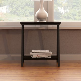 Contemporary Style End Table with Lower Storage Shelf and Bronzed Legs in Brown Walnut Finish