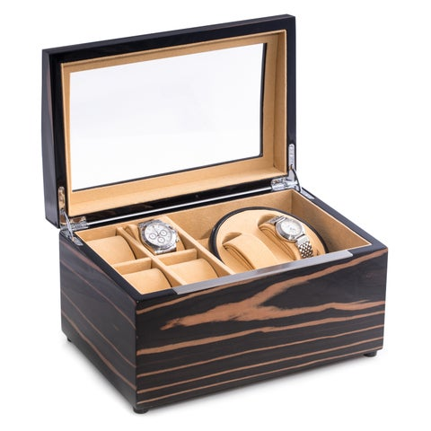 Leo Lacquered Ebony Finished Burl Wood Watch Winder And Storage Case Watch Box