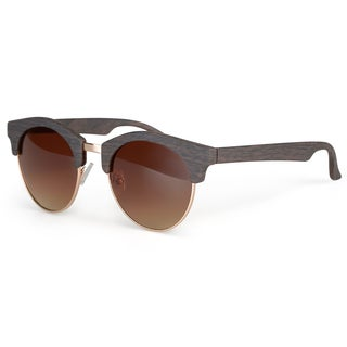 Journee Collection Women's Traditional Round Woodgrain Sunglasses