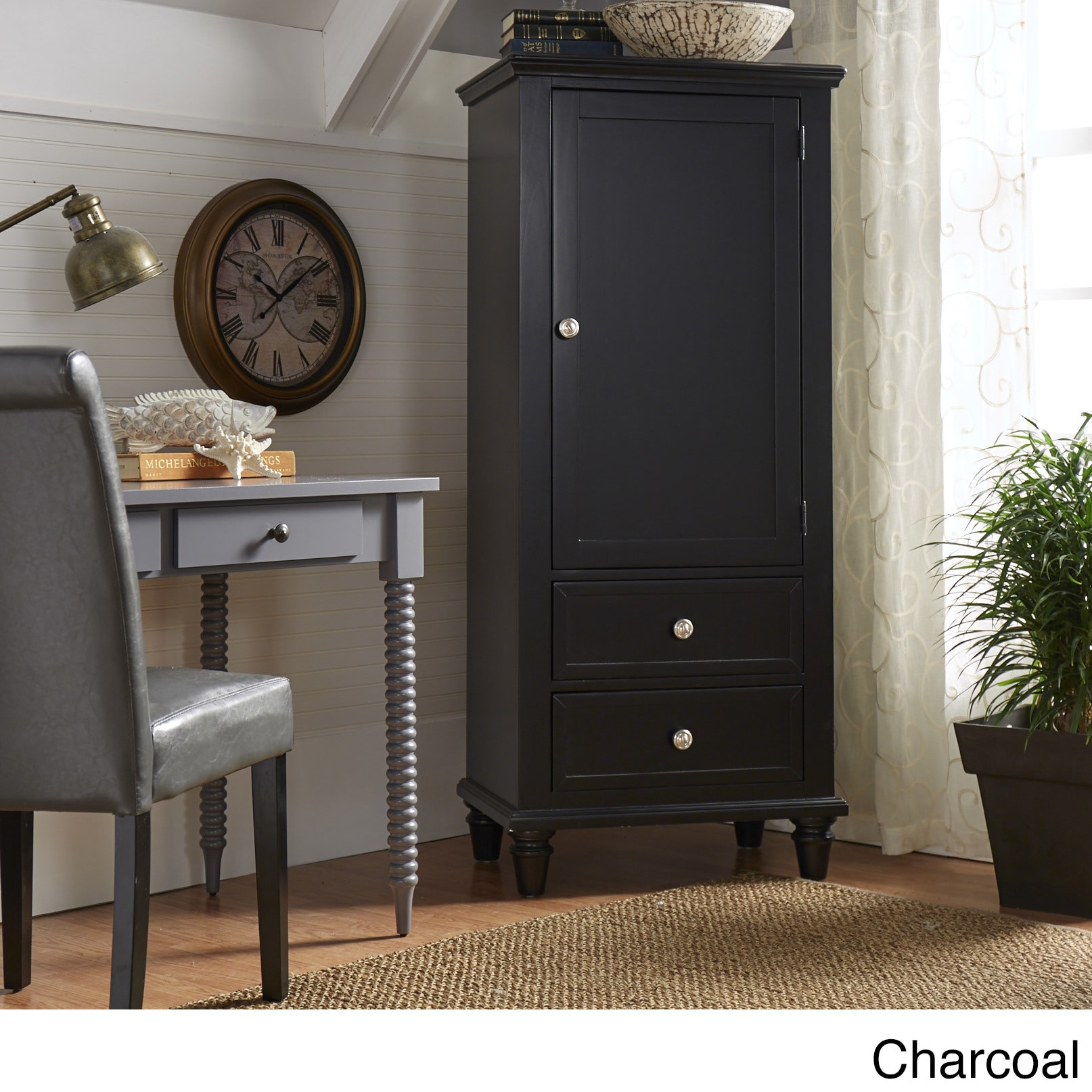 Beau Preston Wooden Wardrobe Storage Armoire By INSPIRE Q Junior (Option:  Charcoal Black Finish)
