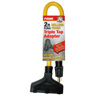 Prime AD050802 2' 12/3 STOW Yellow Triple Tap Adapter