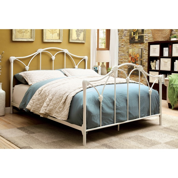 Furniture of America Camille Contemporary White Metal Bed