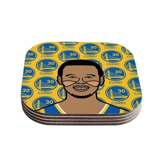 Will Wild 'Steph Curry' Yellow Sports Coasters (Set of 4)