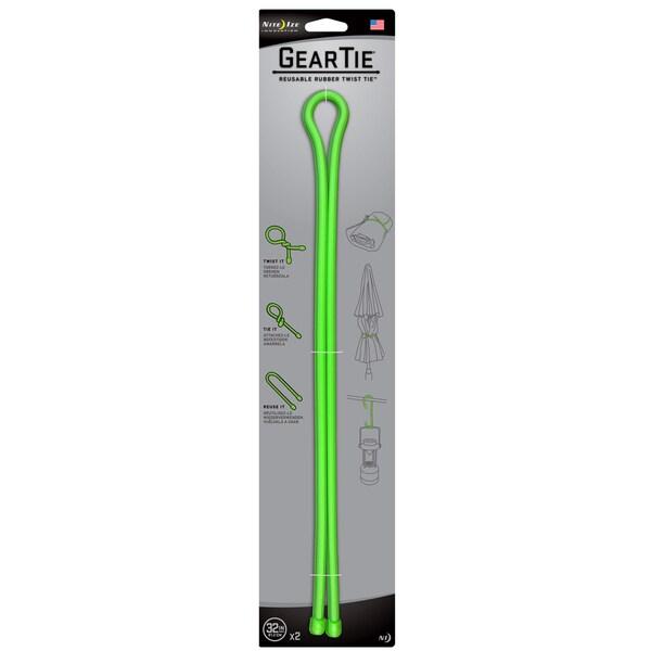 Nite Ize  Gear Tie  32 in. L Lime Green  Twist Ties  2 pk