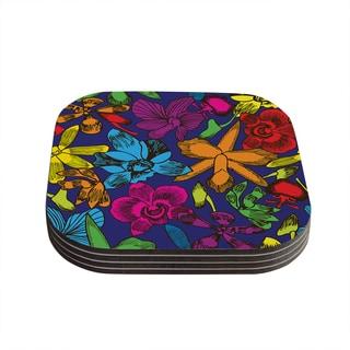 Yenty Jap 'Lovely Orchids' Multicolor Floral Coasters (Set of 4)