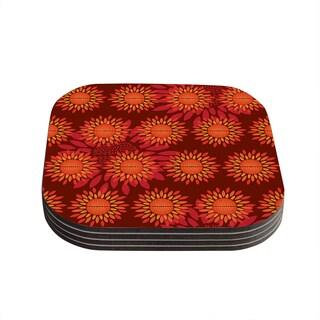 Yenty Jap 'Sunflower Season' Orange Red Coasters (Set of 4)