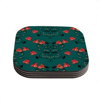 Yenty Jap 'Hummingbird' Teal Red Coasters (Set of 4)