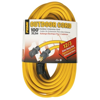 Prime EC500835 100' 12/3 SJTW Yellow Outdoor Extension Cord