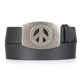 Vance Co. Men's Peace Symbol Interchageable Buckle Belt