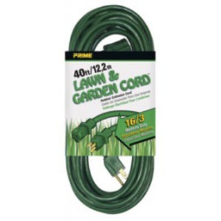 Prime EC880628 40' 16/3 SJTW Green Landscape Extension Cord