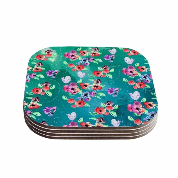 Zara Martina Mansen 'Spring Birds On Teal' Green Purple Coasters (Set of 4)