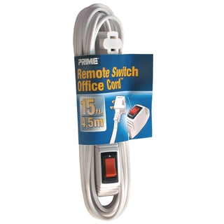 Prime EC870615 15' 16/2 SPT-2 White Remote Switch Extension Cord