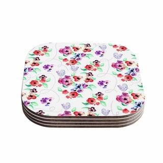Zara Martina Mansen 'Spring Flowers And Birds' White Red Coasters (Set of 4)