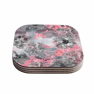 Zara Martina Mansen 'Floral Blush' Pink Gray Coasters (Set of 4)